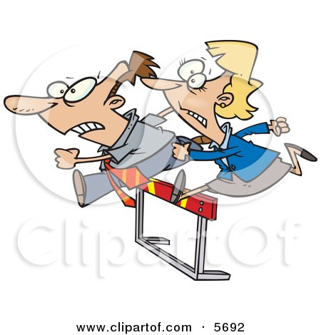 Man and Woman Jumping a Hurdle Obstacle During a Race Clipart Illustration by toonaday