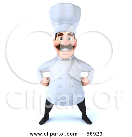 Royalty-Free (RF) Clipart Illustration of a 3d Chef George Character Standing And Facing Front by Julos