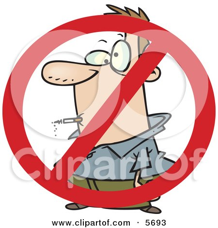 No Smoking Symbol Over a Man Smoking a Cigarette Clipart Illustration by toonaday