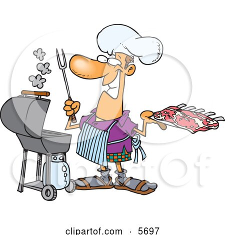 Man Preparing to Barbeque Ribs on a Gas Grill Clipart Illustration by toonaday