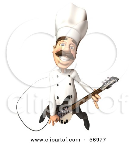Royalty-Free (RF) Clipart Illustration of a 3d Chef Henry Character Playing An Electric Guitar - Version 4 by Julos