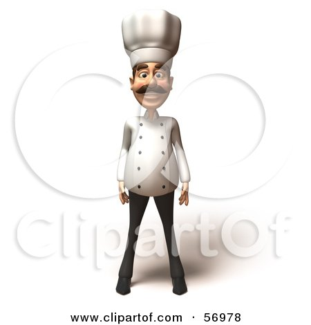 Royalty-Free (RF) Clipart Illustration of a 3d Chef Henry Character Standing And Facing Front by Julos