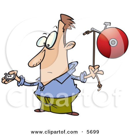 Man With a Watch, Preparing to Ring a Bell Clipart Illustration by toonaday