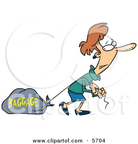 Woman Pulling a Heavy Bag Clipart Illustration.