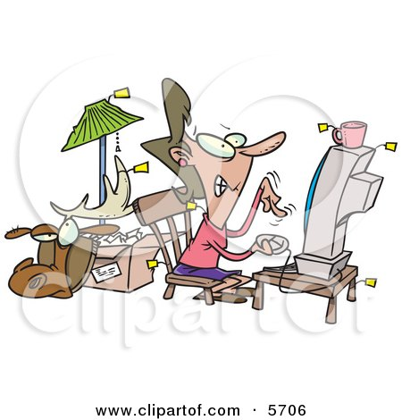 Female Online Auction Addict Sitting in Front of a Computer, All Items Around Her With Price Tags Clipart Illustration by toonaday
