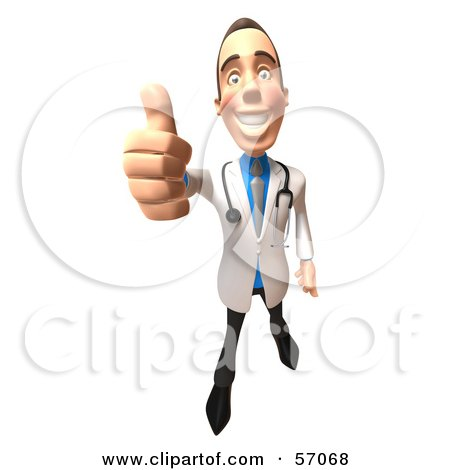 Royalty-Free (RF) Clipart Illustration of a 3d White Male Doctor Character Giving The Thumbs Up - Version 3 by Julos