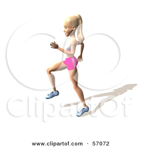 Royalty-Free (RF) Clipart Illustration of a 3d Blond Fitness Woman Character Skipping Or Running - Version 3 by Julos