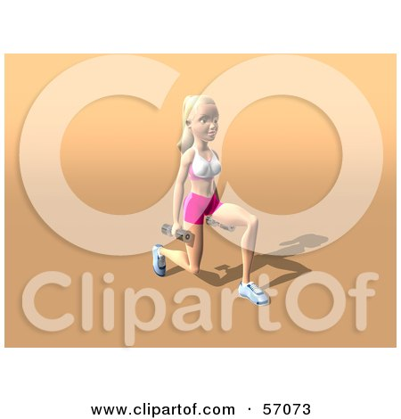 Royalty-Free (RF) Clipart Illustration of a 3d Blond Fitness Woman Character Doing Walking Lunges With Weights - Version 2 by Julos