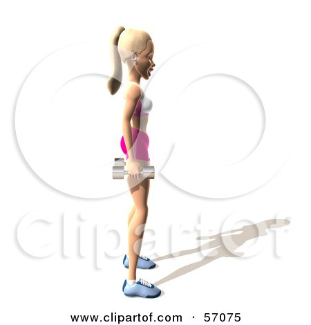 Royalty-Free (RF) Clipart Illustration of a 3d Blond Fitness Woman Character Standing With Dumbbells At Her Sides - Version 3 by Julos