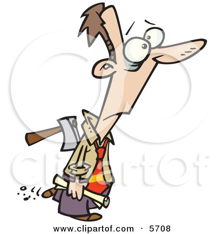 Man With an Axe in His Back Clipart Illustration by toonaday