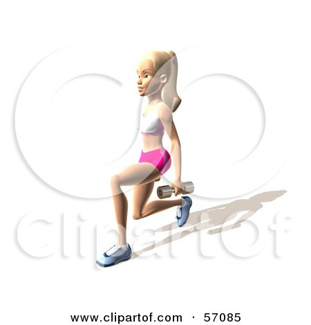 Royalty-Free (RF) Clipart Illustration of a 3d Blond Fitness Woman Character Doing Walking Lunges With Weights - Version 7 by Julos