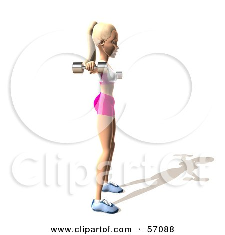 Royalty-Free (RF) Clipart Illustration of a 3d Blond Fitness Woman Character Doing Lateral Raises - Version 4 by Julos