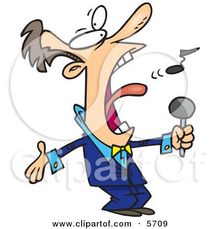 Man in a Blue Suit, Singing the Anthem Clipart Illustration by Ron Leishman