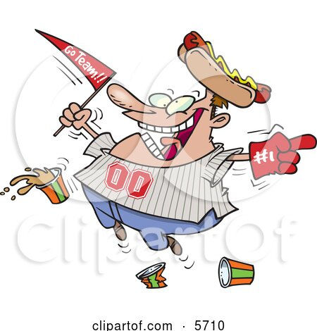 Male Baseball Fan With a Hot Dog Hat, Flag, Hand and Drinks Clipart Illustration by toonaday