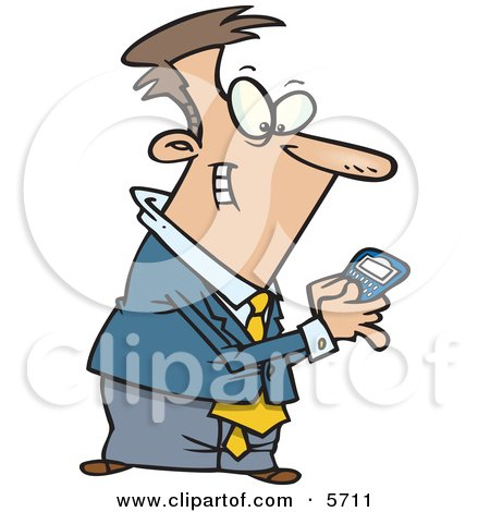 Man Using a BlackBerry Wireless Handheld Device to Send Text Messages Clipart Illustration by toonaday