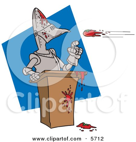 Throwing Tomatoes at a Suit of Armor Clipart Illustration by toonaday