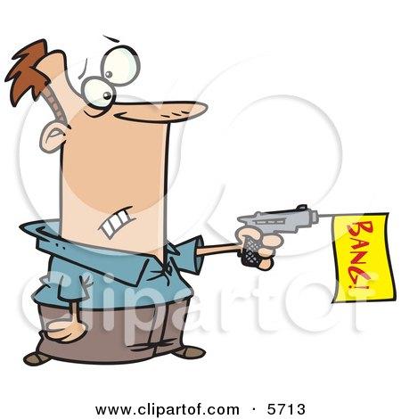 Man Shooting a Dud Gun With a Bang Flag Posters, Art Prints