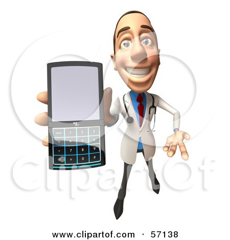 Royalty-Free (RF) Clipart Illustration of a 3d White Male Doctor Character Holding A Cell Phone - Version 4 by Julos