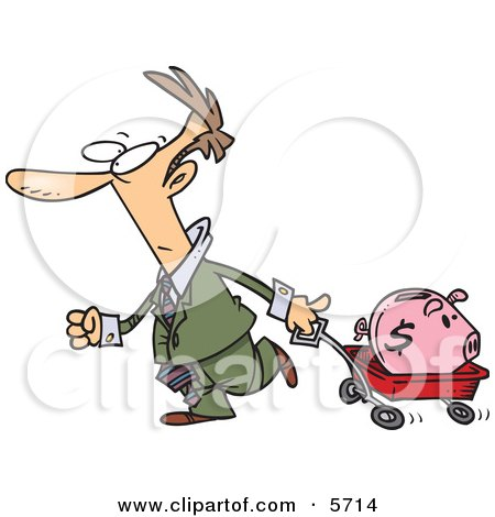 Man Pulling a Piggy Bank in a Wagon Posters, Art Prints