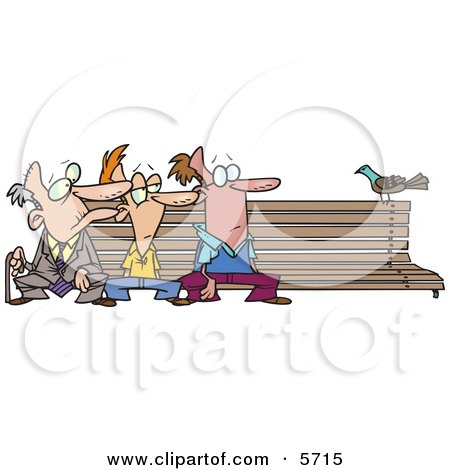 Three Men at Different Ages, Sitting on a Bench by a Pigeon Clipart Illustration by toonaday