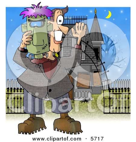 Smiling Man Holding a Halloween Frankenstein Mask In Front of a Haunted House Clipart Illustration by djart