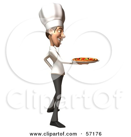 Royalty-Free (RF) Clipart Illustration of a 3d White Chef Man Character Serving A Pizza Pie - Version 1 by Julos