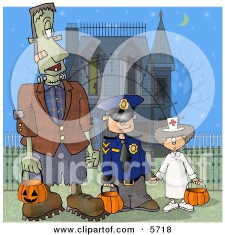 Halloween Frankenstein, Detective, and Doctor Clipart Illustration by djart