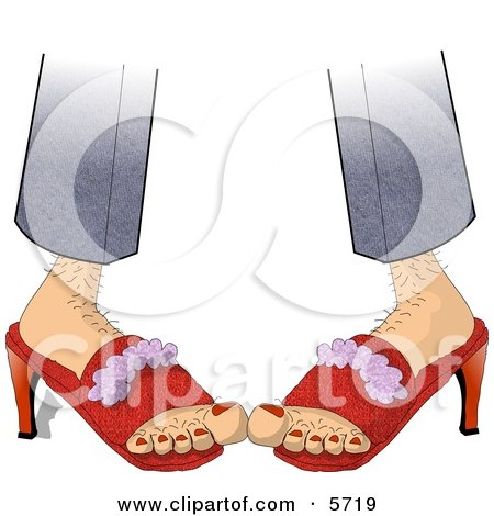 Hairy Woman Wearing Red High-heeled Shoes Clipart Illustration by djart