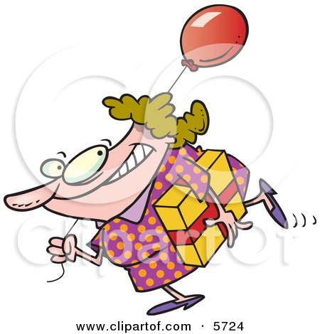 Birthday Girl in a Polka Dot Dress, Carrying a Present and Balloon Clipart Illustration by Ron Leishman