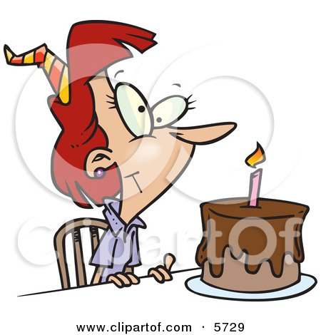 Birthday Woman With Candle on a Birthday Cake Clipart Illustration by toonaday