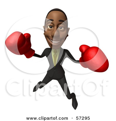 Royalty-Free (RF) Clipart Illustration of a 3d Black Businessman Character Boxing - Version 5 by Julos