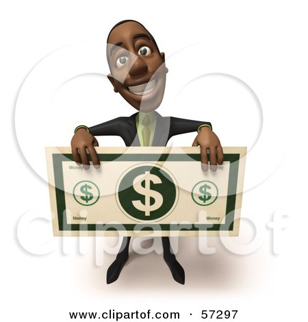 Royalty-Free (RF) Clipart Illustration of a 3d Black Businessman Character Holding An Over Sized Dollar - Version 1 by Julos