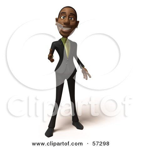 Royalty-Free (RF) Clipart Illustration of a 3d Black Businessman Character Pointing His Fingers Like A Gun - Version 5 by Julos
