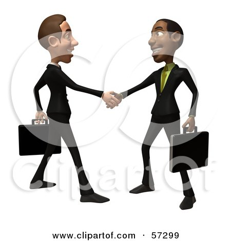 Royalty-Free (RF) Clipart Illustration of 3d White And Black Businessmen Characters Shaking Hands - Version 1 by Julos