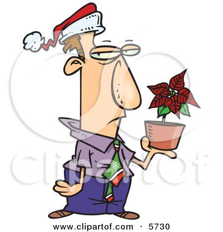 Disgruntled Employee in a Santa Hat, Holding a Poinsettia Plant as a Christmas Bonus Clipart Illustration by toonaday