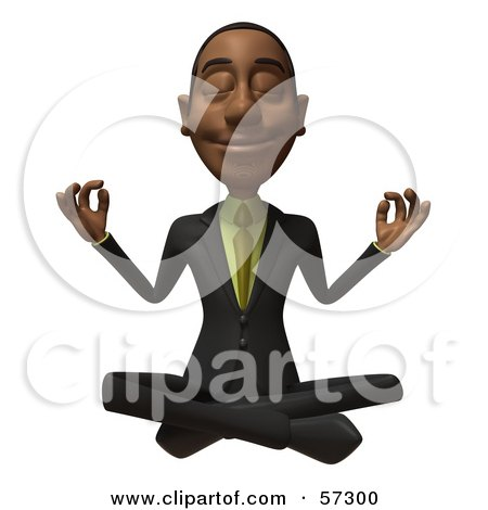 Royalty-Free (RF) Clipart Illustration of a 3d Black Businessman Character Meditating - Version 2 by Julos