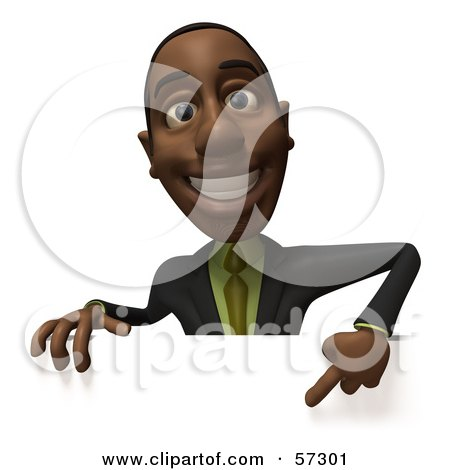 Royalty-Free (RF) Clipart Illustration of a 3d Black Businessman Character Pointing Down And Standing Behind A Blank Sign - Version 1 by Julos