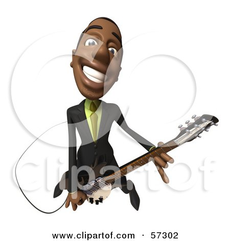 Royalty-Free (RF) Clipart Illustration of a 3d Black Businessman Character Playing An Electric Guitar - Version 4 by Julos