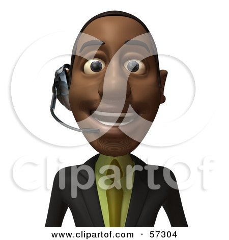 Royalty-Free (RF) Clipart Illustration of a 3d Black Businessman Character Smiling And Wearing A Headset - Version 1 by Julos