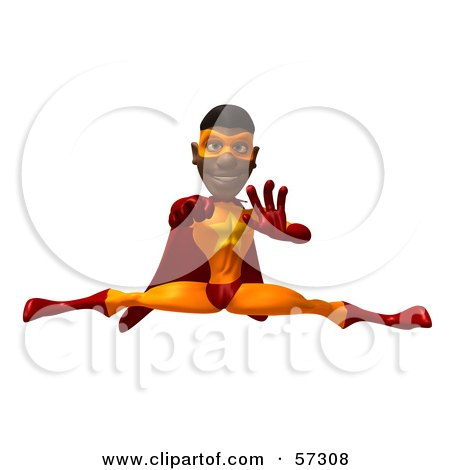 Royalty-Free (RF) Clipart Illustration of a 3d Black Male Super Hero Doing The Splits - Version 2 by Julos