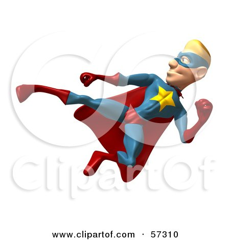 Royalty-Free (RF) Clipart Illustration of a 3d Male Star Superhero Character Kicking - Version 3 by Julos