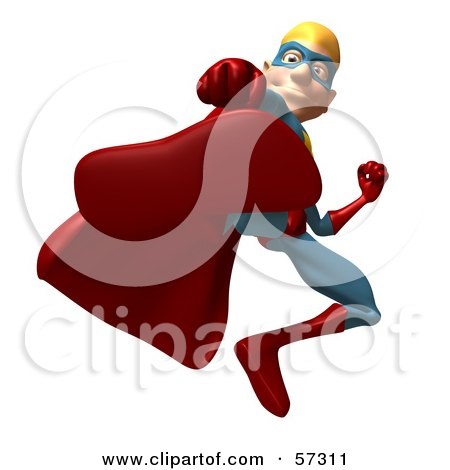 Royalty-Free (RF) Clipart Illustration of a 3d Male Star Superhero Character Kicking - Version 1 by Julos