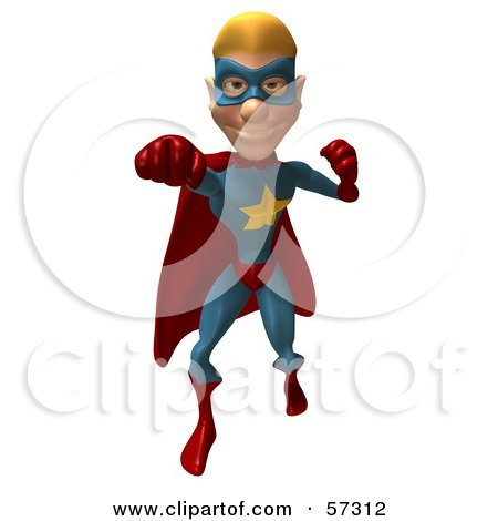 Royalty-Free (RF) Clipart Illustration of a 3d Male Star Superhero Character Punching - Version 1 by Julos