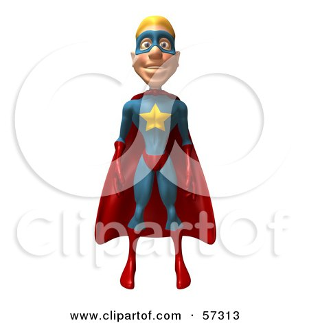 Royalty-Free (RF) Clipart Illustration of a 3d Male Star Superhero Character Standing And Facing Front by Julos