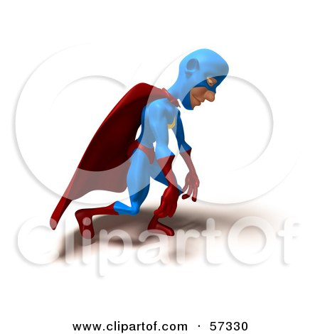 Royalty-Free (RF) Clipart Illustration of a 3d Male Star Superhero Character Slouching by Julos