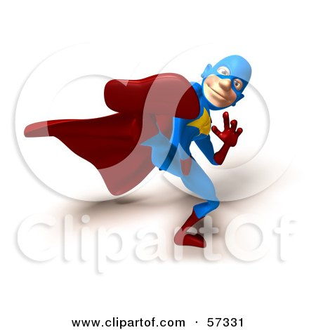 Royalty-Free (RF) Clipart Illustration of a 3d Male Star Superhero Character Kicking - Version 4 by Julos