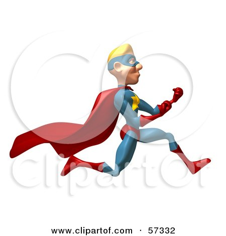 Royalty-Free (RF) Clipart Illustration of a 3d Male Star Superhero Character Running With Fists Clenched by Julos