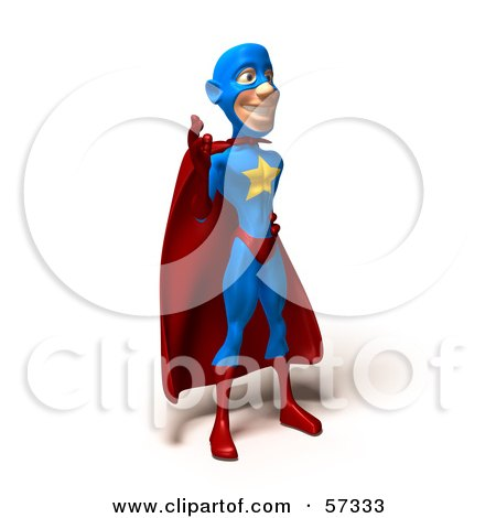 Royalty-Free (RF) Clipart Illustration of a 3d Male Star Superhero Character Waving - Version 1 by Julos