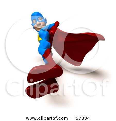 Royalty-Free (RF) Clipart Illustration of a 3d Male Star Superhero Character Standing And Looking Down by Julos