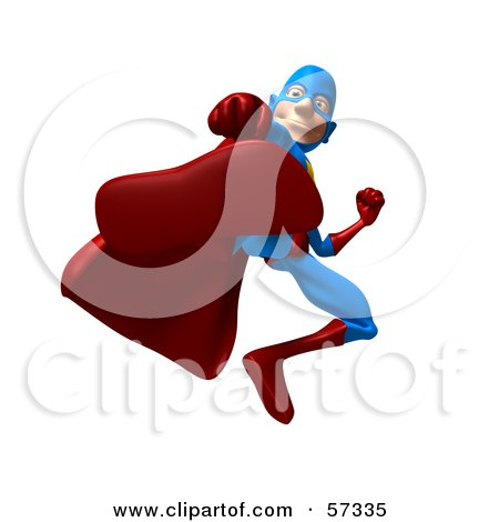 Royalty-Free (RF) Clipart Illustration of a 3d Male Star Superhero Character Kicking - Version 2 by Julos